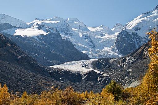 Engadin, Glacier, Autumn, Graubünden, Mountains