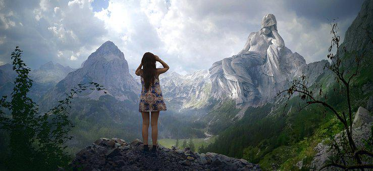 Fantasy, Mountains, Statue, Girl, View, Landscape
