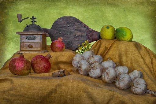 Still Life, Old, Vintage, Garlic, Granada, Lime