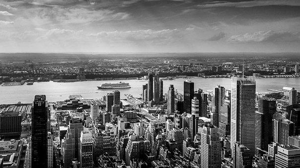 New York, Panorama, Buildings, Sky, Usa, City
