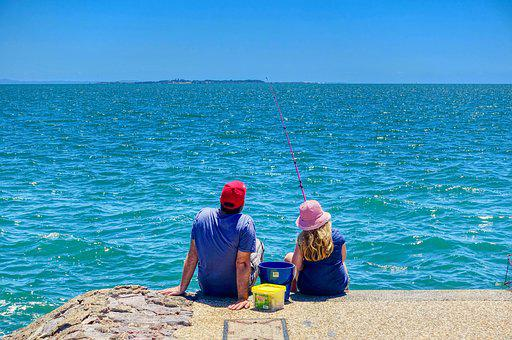 Angler, Fishing, Couple, Relax, Sea, Ocean, Peaceful