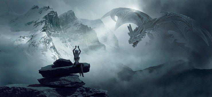 Fantasy, Dragons, Rock, Mountains, Woman, Girl, Stones
