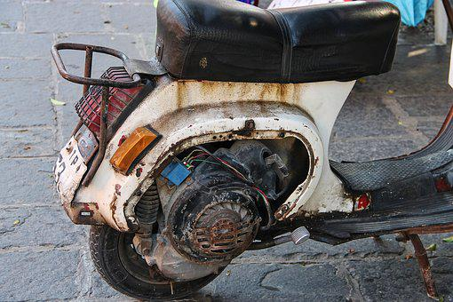 Motor Scooter, Roller, Motor, Old, Rusty, Seat, Drive