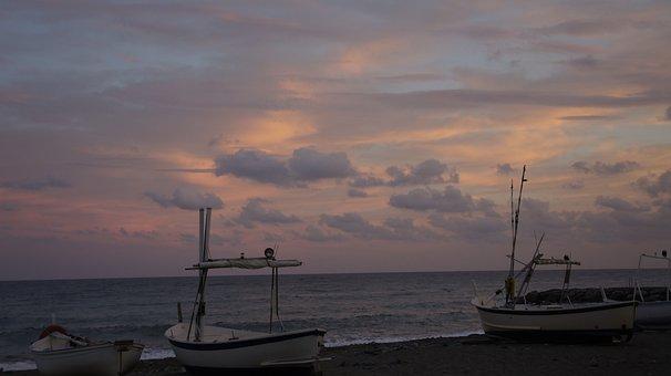 Sunset, Sea, Boats, Sailboats, Clouds, Liguria, Italy
