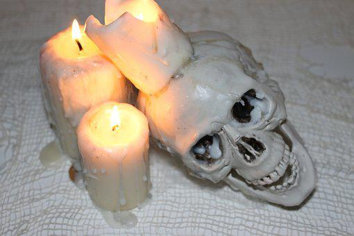 Skull, Candle, Candlelight, Wax, Creepy, Gloomy, Death