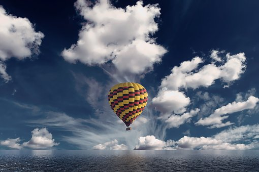 Hot Air Balloon, Clouds, Reflection, Sky, Balloon