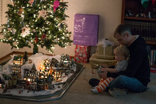 Christmas, Train, Lights, Holiday, Remote, Father, Son