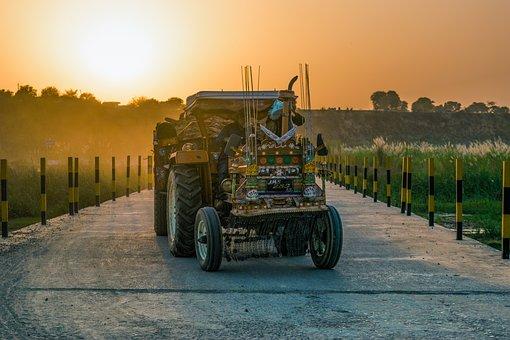 Tractor, Bridge, Summer, Sunset, Travel, Agriculture