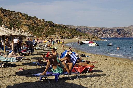 Crete, Greece, Vai Locality, Palm Trees, Sea, Beach