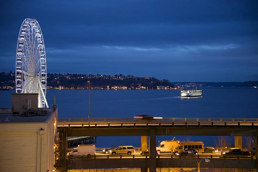 Seattle, Nighttime, Waterfront, Ferry, Viaduct