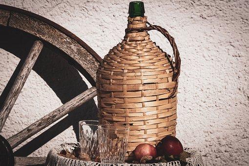 Still Life, Basket Bottle, Herbstimpression, Wine