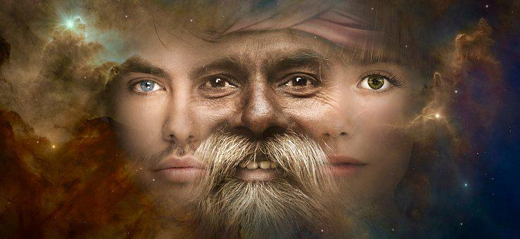 Fantasy, Portrait, Face, Old, Young, Magic, Surreal