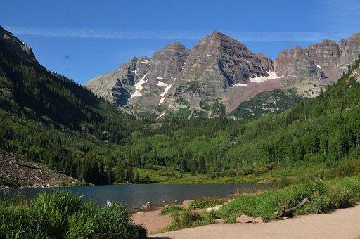 Maroon Bells, Mountain, Lake, Aspen, Landscape