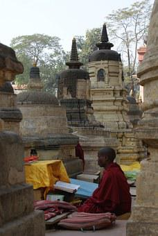 Monk, Buddhism, Shrine, Temple, Robes, Maroon