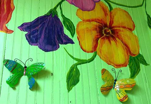 Wall Art, Mural, Flower, Colorful, Butterfly, Wood
