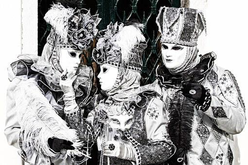 Carnival, Venice, Masks, Camouflaged, Woman, Men