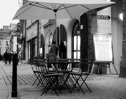 Street, Cafe, Prague, Chairs, Cobblestone