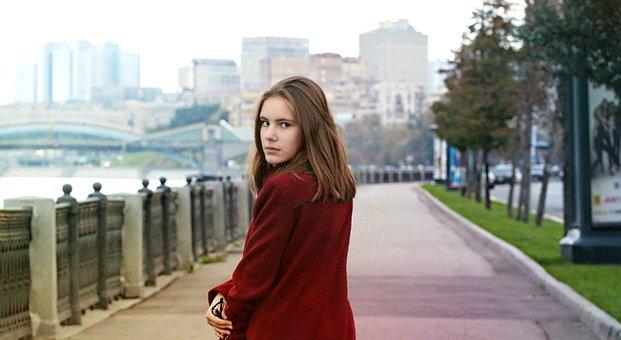 Stroll, Autumn, Coat, Girl, Quay, City, Maroon, Cute