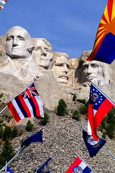 Mount Rushmore, Flags, South Dakota, Mount, Rushmore