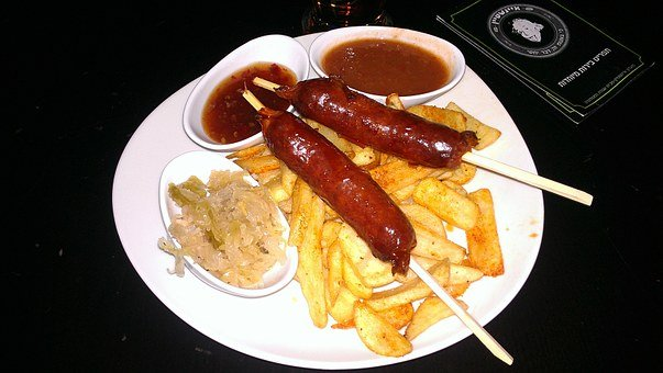 Sausage, Fries, Dinner, Food, Hot Dog