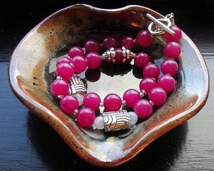 Gemstones, Dyed Jade, Hot Pink, Silver Over Copper