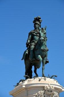 Reiter, Sculpture, Lisbon, Monument, Landmark, Horse