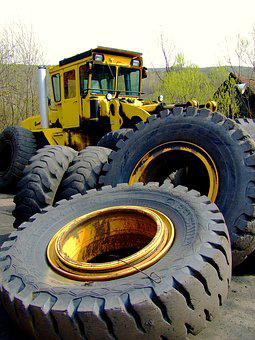 Tractor, Wheels, Rubber Tires, Mining, Yellow, Machine