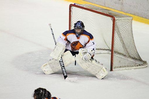 Ice Hockey, Winter Sports, Goal Keeper, Net, Ice