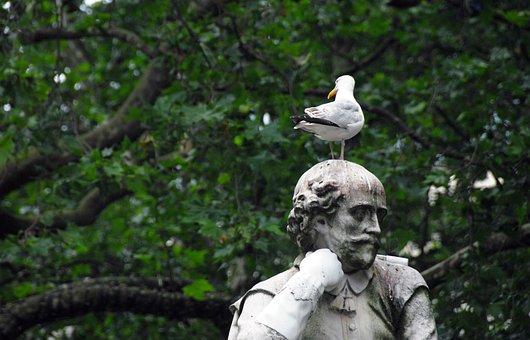 Statue, Park, Bird, Pigeon