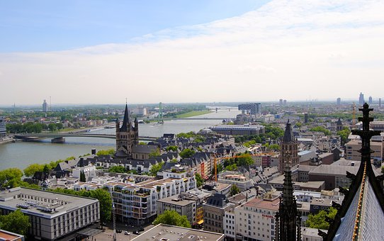 View From Dom, Cologne, Crane Homes, Rhine, Roofs