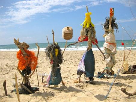 Beach, Figures, Scarecrows, Voodoo, Sand Beach, Sea