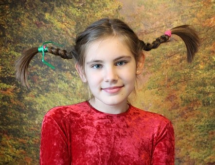 Girl, Pigtails, Baby, Smile, Hairstyle, Emotions