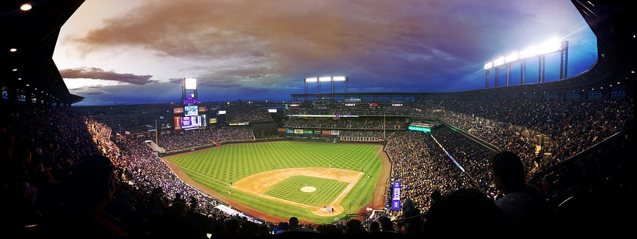 Baseball, Game, Stadium, Crowd, Night, Colorado, Denver