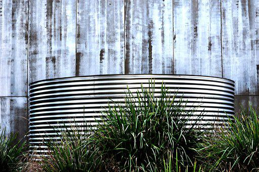 Water Tank, Silver, Blue, Grass, Stripes