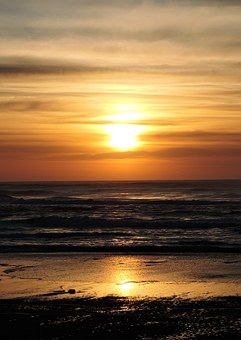 Sunset, Nelscott Beach, Lincoln City, Ocean, Coast