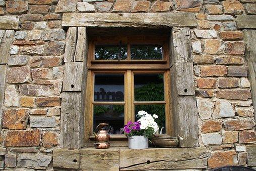 Wall, Quarry Stone, Window, Frame, Flowers