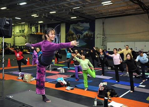 Young Woman, Yoga Classes, Fitness, Gym Room, Asana
