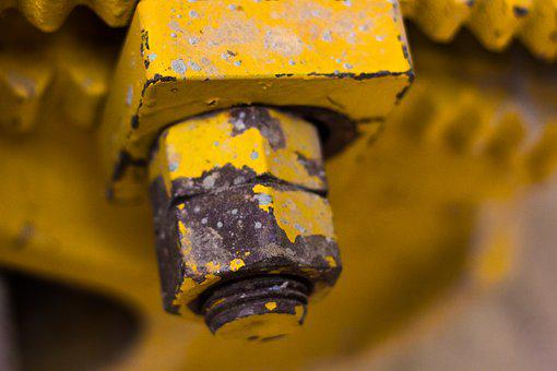 Nuts And Bolt, Nuts, Bolt, Tightened, Yellow Bolt