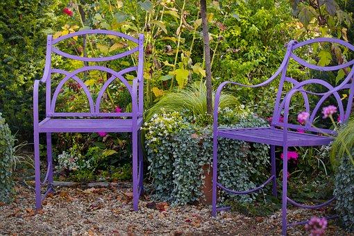 Chairs, Seat, Garden, Autumn, Idyllic, Romantic, Rest