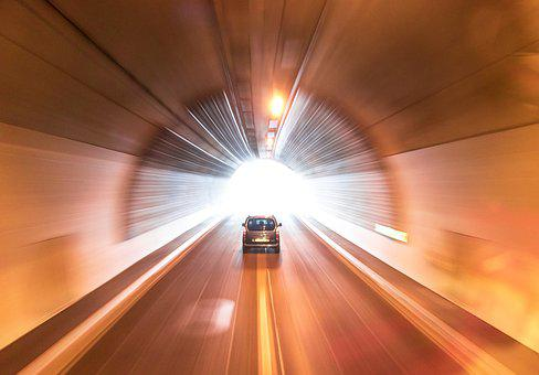 Heaven, Tunnel, Highway, Light, Speed, Citroen, Car