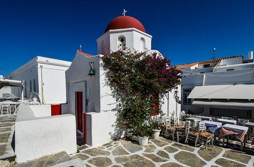 Church, Terrace, Color, Blue, White, Architecture