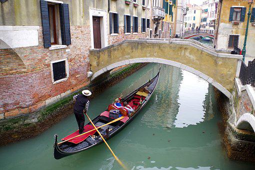 Venice, Gondola, Gondolier, Italy, Channel, Vacations
