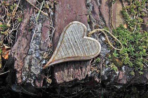 Gray, Heart, Wooden, Feeling, Autumn, Surface, Stone