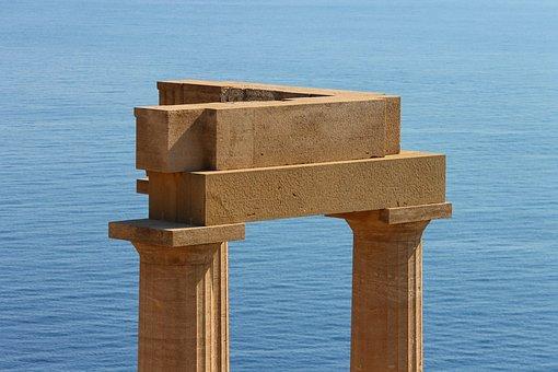 Lindos, Acropolis, Columnar, Greece, Sea, Blue, Stony