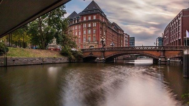 Hamburg, Water, Fleet, Architecture, Building, River