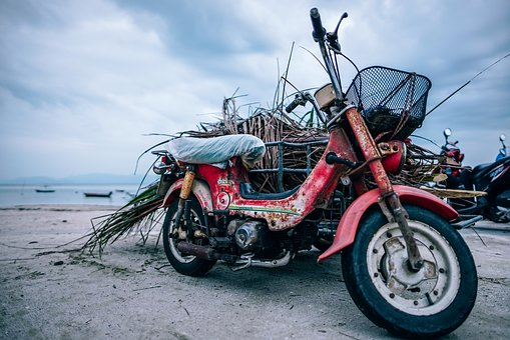 Beach, Bike, Coast, Cloudy, Dirty, Gray, Horizon