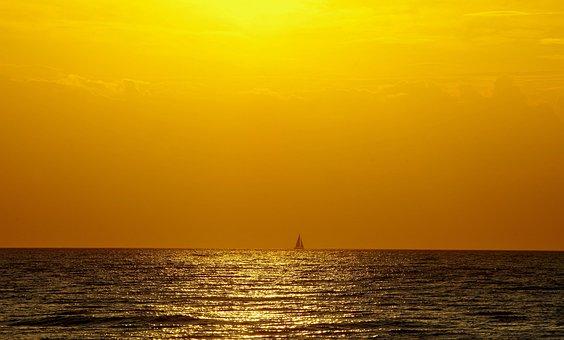 Sail, Horizon, Orange, Gloss, Water, Sea, Longing