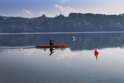Lake, Kayak, Clouds, Mirroring, Boje, Panorama, Simssee