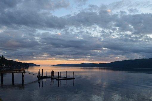 Landscape, Sunrise, Water, Shore, Pier, Orange, Nature