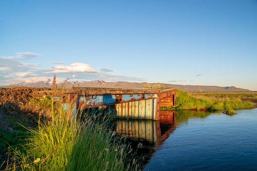 Landscape, Water, Iceland, Bridge, Sunset, Sky